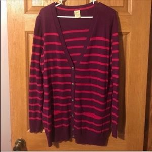 Purple & Pink Striped Button Down Cardigan
